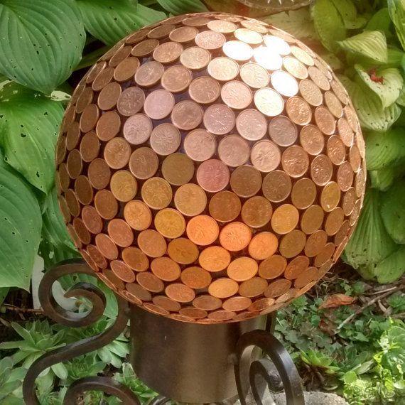 Copper Penny Pennies Garden Sphere Yard Ornament by TheGlassMunkey
