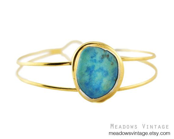 Early Rafael Alfandary Gold Bracelet with Blue by MeadowsVintage