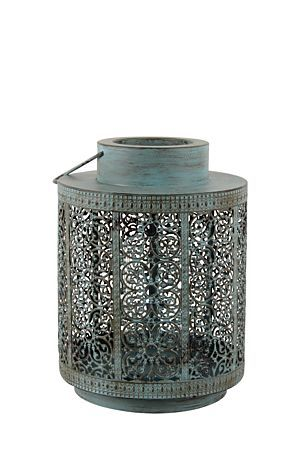 """This distress finish lantern with floral detail has a rustic look and can be used to accessorize an outdoor area.<div class=""""pdpDescContent""""><BR /><b class=""""pdpDesc"""">Dimensions:</b><BR />L24xW24xH31 cm</div>"""