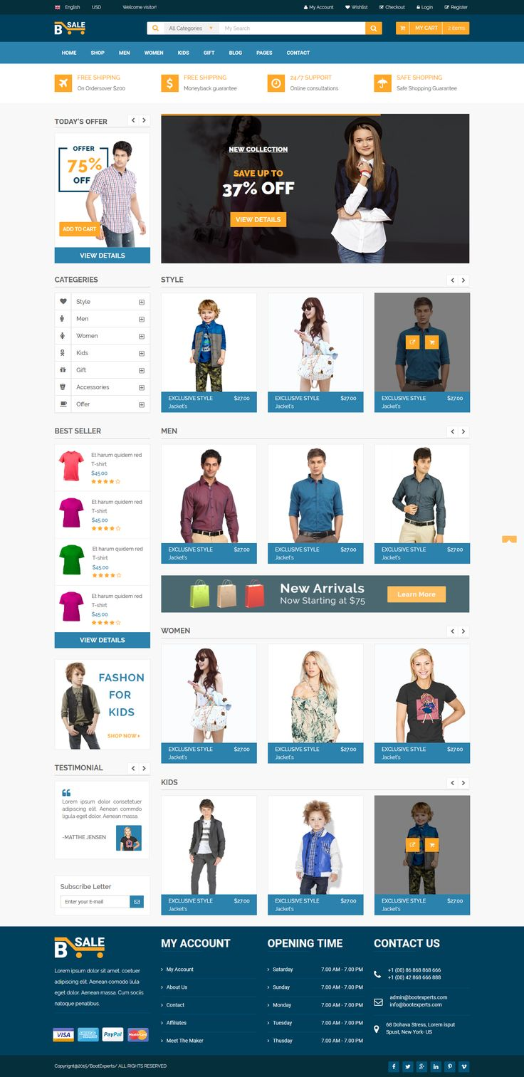 Interface designed for fashion shop is developed based on