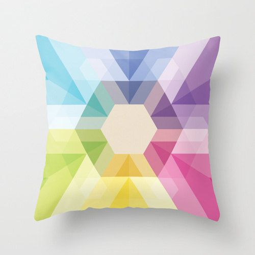 20x20 Colorful Geometric Triangle & Hexagon Throw Pillow Fig. 025 COVER ONLY. $28.00, via Etsy.