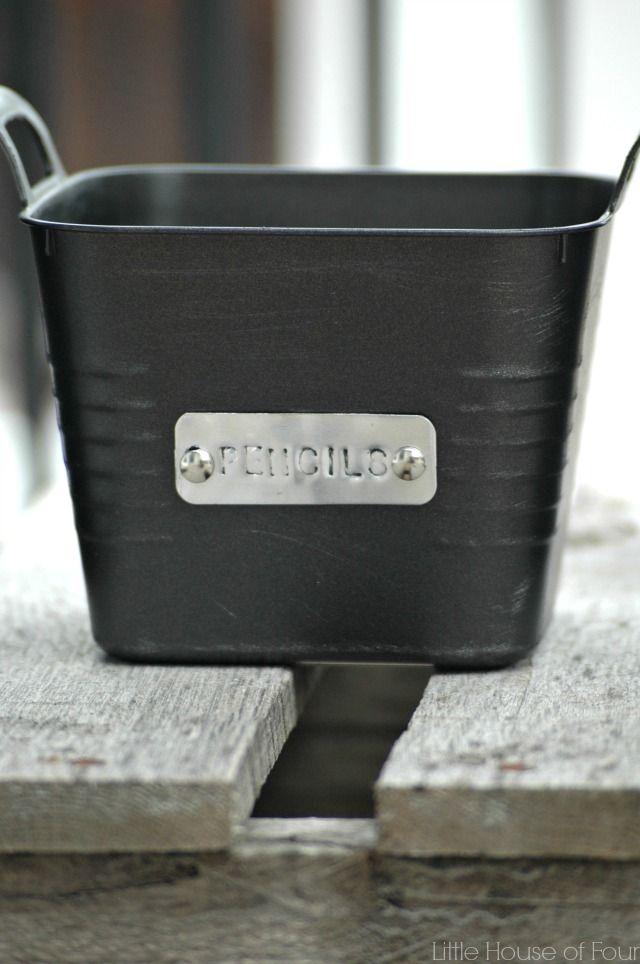 Dollar Store Storage Bins with Custom Metal Tags {MonthlyDIYChallenge}