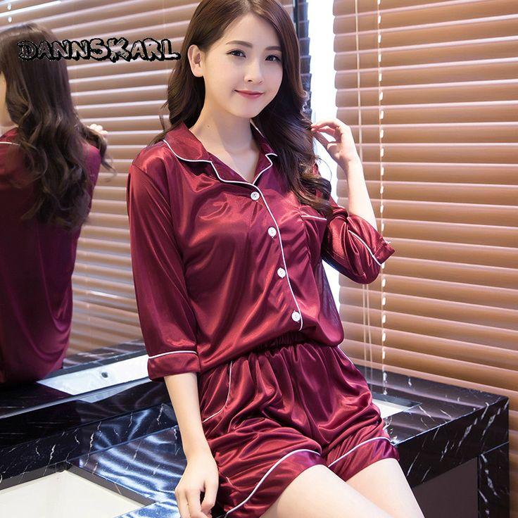 New Sexy Two-piece Women's Pajama Sets Thin Rayon Ice Silk Lace Shirt Shorts Female  Pyjama Nightgowns Sleep Lounge