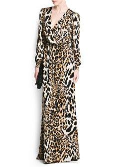 MANGO - KLEDING - Jurken - Maxi's - Lange jurk met luipaardprint