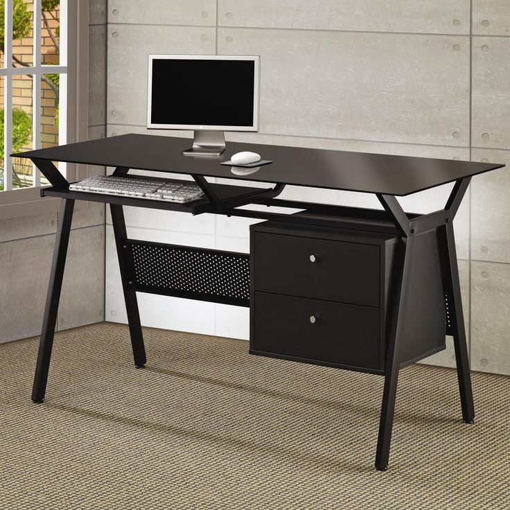 Coaster Computer Desk  Black 800436. Black Glass Computer DeskGlass Office  ...