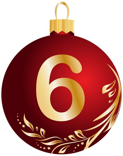Christmas Ball Number Six Transparent PNG Clip Art Image
