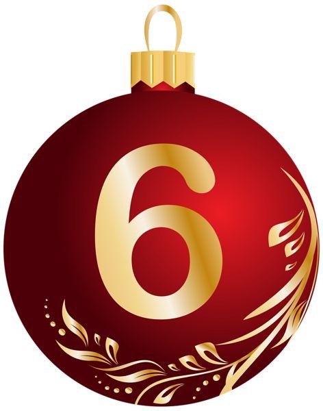 Christmas Ball Number Six Transparent PNG Clip Art Image