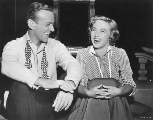 """Fred Astaire and Jane Powell share a laugh on the set of """"Royal Wedding"""" (1951)."""