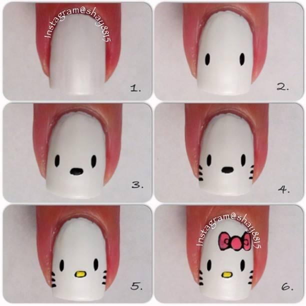 Hello Kitty nails ~ Love Her! vamos a hacerlo a ver como me salen!!!