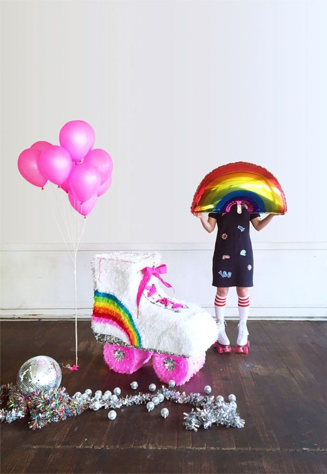 Love this rainbow DIY piñata for an adult or kid's party.