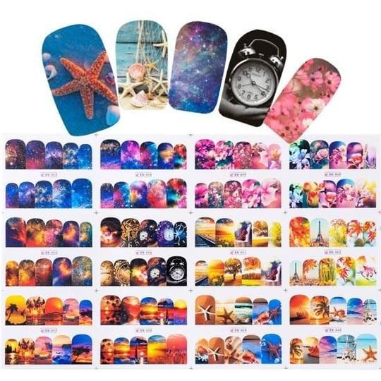 Mixed 12 Nail Designs Water Transfer Sticker Nail Art DIY Tattoo Slider Flamingo Flower Feather Wraps Manicure Set CHBN865-876