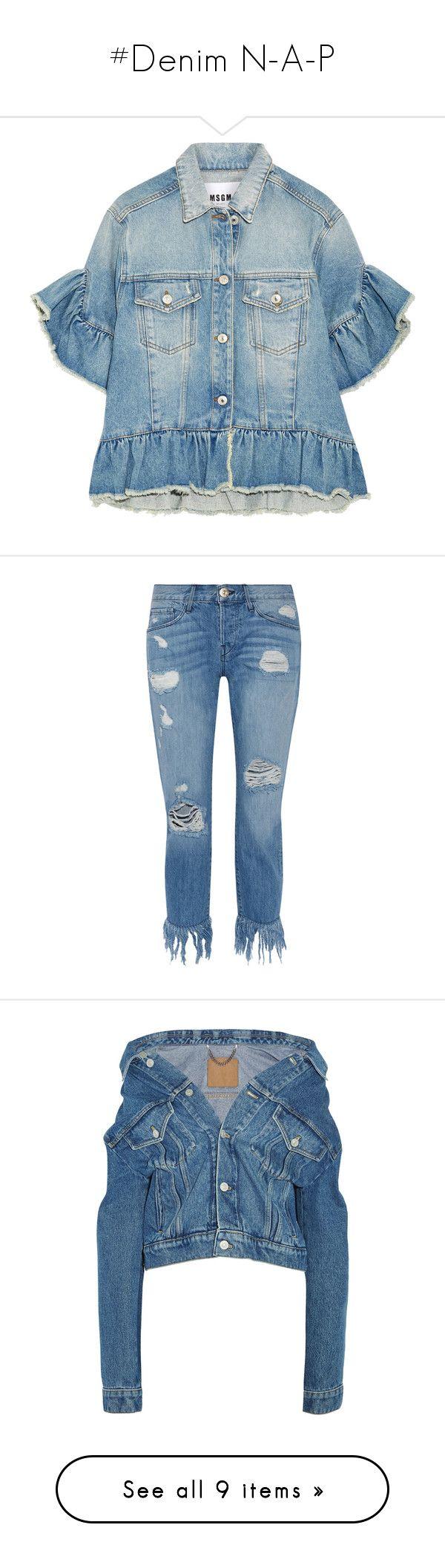 """#Denim N-A-P"" by lolgenie ❤ liked on Polyvore featuring outerwear, jackets, light blue, denim jacket, short sleeve jean jacket, distressed jean jacket, blue jean jacket, distressed denim jacket, jeans and pants"