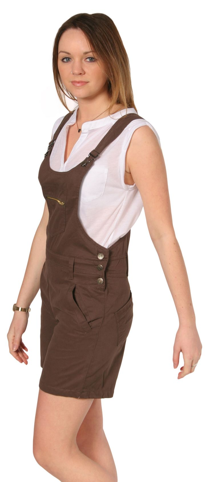 Womens Brown Dungaree Shorts from Dungarees Online - only £19.99. #shortalls #dungarees #dungareeshorts