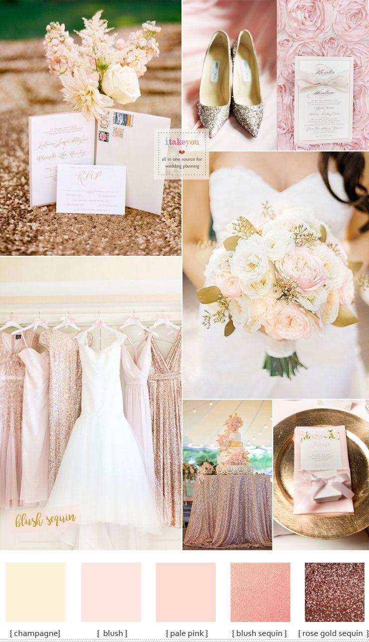 Blush sequin bridesmaid dresses For Elegant Blush and Gold Summer Wedding Inspiration | Itakeyou.co.uk #rosegold #blushwedding