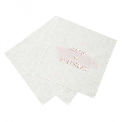 "16 Serviettes ""Happy birthday"" rose pastel"