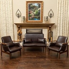 Braselton Mid Century Design 3pc Loveseat and Chair Set in Brown Leather