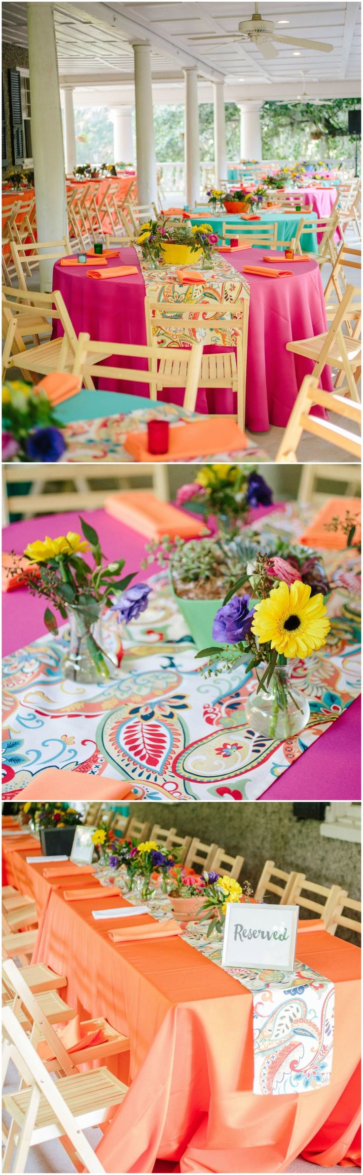Colorful wedding, reception décor, hot pink & orange tablecloths, rainbow paisley runners, daisies, turquoise // Riverland Studios