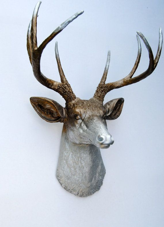 17 best ideas about deer head decor on pinterest deer decor rustic wall decor and rustic - Silver stag head wall mount ...