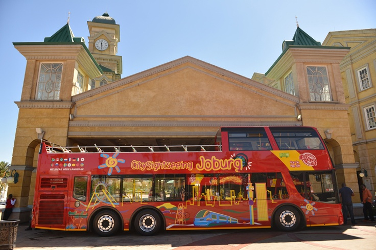 City Sightseeing Bus about to depart from the Gold Reef City Bus stop.