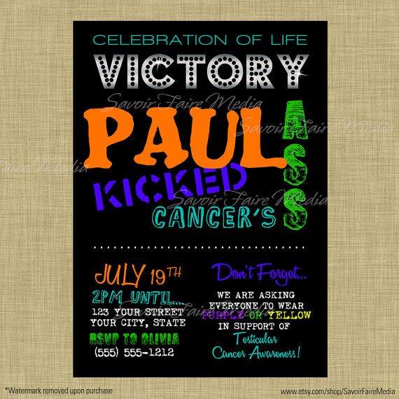 Cancer Survivor, Beat Cancer, Celebration of Life Bright and Black Invitation, Survival, Kicked Cancers Ass by SavoirFaireMedia, $10.00