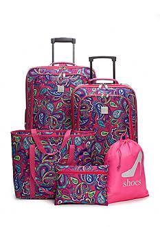 New Directions 5-Piece Pink Paisley Luggage Set