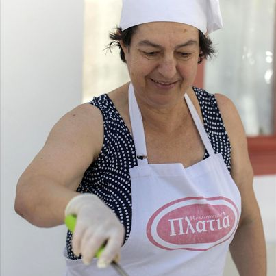 COOKING LESSONS IN PLATIA  Combine your holiday making with a cooking class by Voula and Adriana Goufa at the Platia Restaurant. Together we will make an authentic meal accompanied by local drinks and wine.