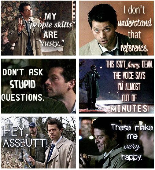Favorite Cas quotes.// I can't wait to see these moments AUGH. Why it's not good to be an avid internetter and try to watch an older show: you see pics/gifs of all the stuff before you watch!