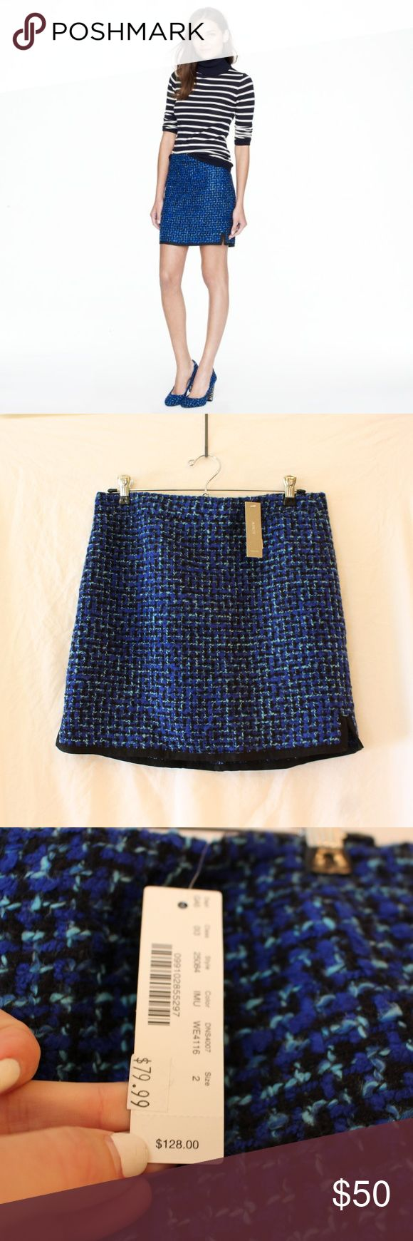 """J Crew Postage stamp mini in indigo tweed NWT ❤️ The matching blazer is also available! ❤️ We love an abbreviated silhouette but went to great lengths to tweak this mini's hem so you'll never feel overexposed. Crafted in a subtle A-line shape to hang off the hip, it's absolutely of the moment in an indigo tweed that makes your entire wardrobe pop.  Acrylic/poly/wool/cotton. Sits above waist. Back zip. 16 1/2"""" long. Lined. Dry clean. Import. JCrew Skirts Mini"""