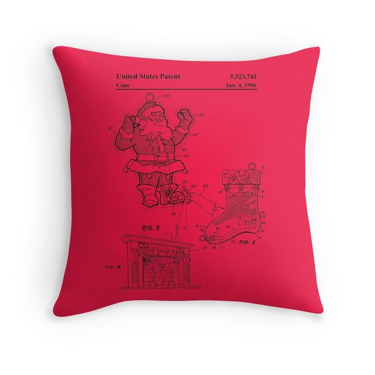 'Santa claus detector patent' Throw Pillow by Elenochka