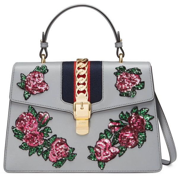Gucci Sylvie Embroidered Leather Top Handle Bag ($3,500) ❤ liked on Polyvore featuring bags, handbags, gucci, grey, grey purse, grey handbags, gray leather handbags, top handle handbags and gray leather purse