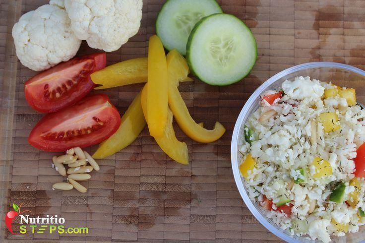 Paleo and Vegan Raw Vegan Grated Cauliflower Salad