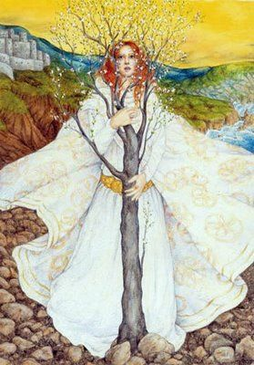 Brighid (pronounced BREED) is the Celtic Goddess of Fire. She rules over many types of fire—the fire of the forge (as Goddess of smithcraft and metal working), the fire of the hearth (as Goddess of healing), and the fire of creativity (as Goddess of poetry). Brighid is seen as a triple Goddess, and she is associated with three different spheres—high (leaping flames, tall forts, wisdom), middle (hearth and home), and low (wells and sacred springs). She is my favorite ❤