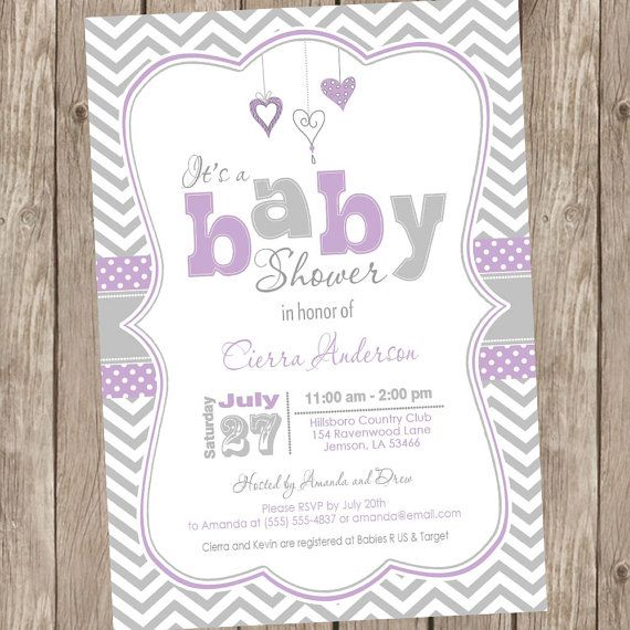 Purple and Grey baby shower invitation chevron by ModernBeautiful