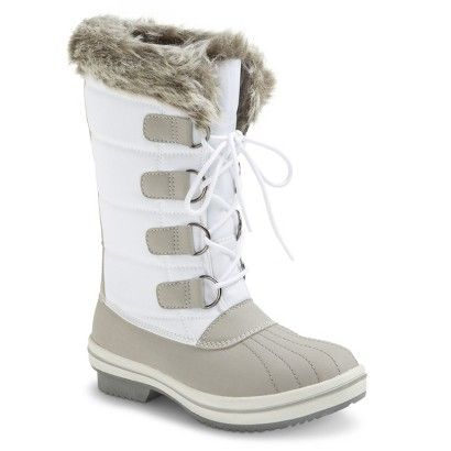 Women's Amber Cold Weather Boot - White $45, we can go try these on in store. I think I'd want to because there are no reviews, and I'm not sure how warm they'd be. Also in black.