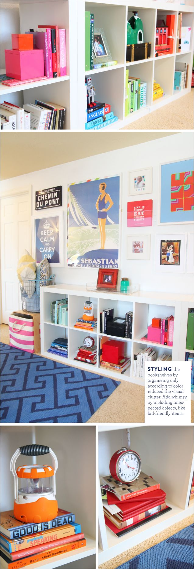 Styling Bookshelves with Color by pencilshavingsstudio: Organizing according to color reduces the visual clutter. Add whimsy by including unexpected objects, like kid friendly items.  #Kids #Bookshelves #Design