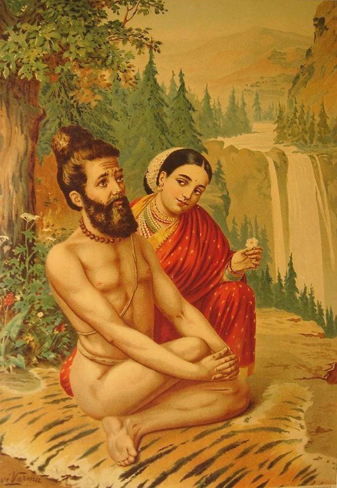 Mythological paintings by Raja Ravi Varma - The story of Sage Vishvamitra and the celestial nymph (Apsara) Menaka.
