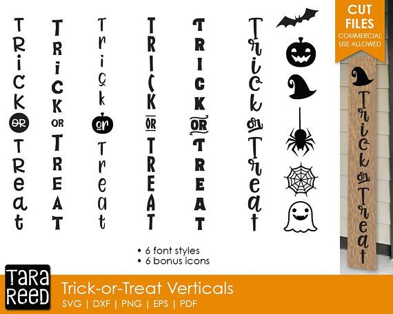 Trick Or Treat Vertical Signs Halloween Svg Files For Crafters Halloween Wood Signs Porch Signs Svg