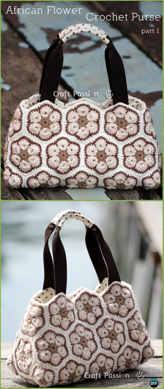 Crochet African Flower Purse Free Pattern - Crochet Handbag Free Patterns Instructions
