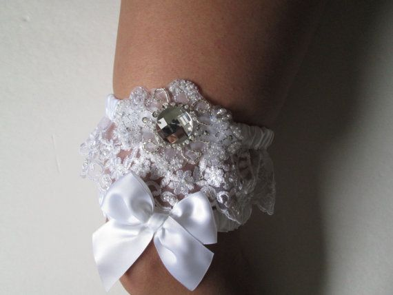 Bridal Wedding Garter In White Pearled Lace By GibsonGirlDesigns 5900