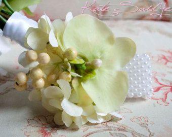 Ramillete de la novia - luz verde orquídeas y hortensias ramillete