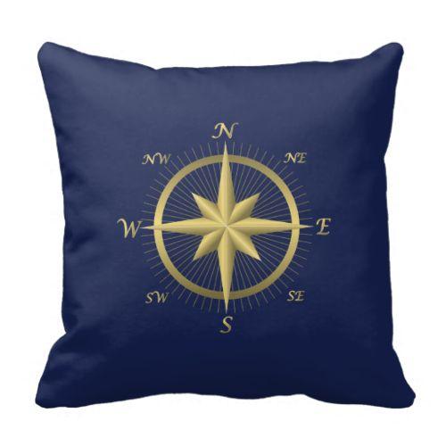 Blue Nautical Wedding Pillows Gold Compass Throw Pillow #throwpillows#homedecor#pillows#nautical#sailing#sailors#boating#beachhouse#cabin#beach#ocean#compass#directions#northsoutheastwest