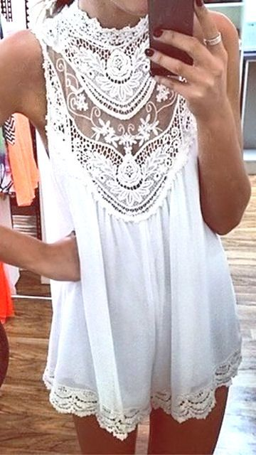 White Boho Lace Dress //