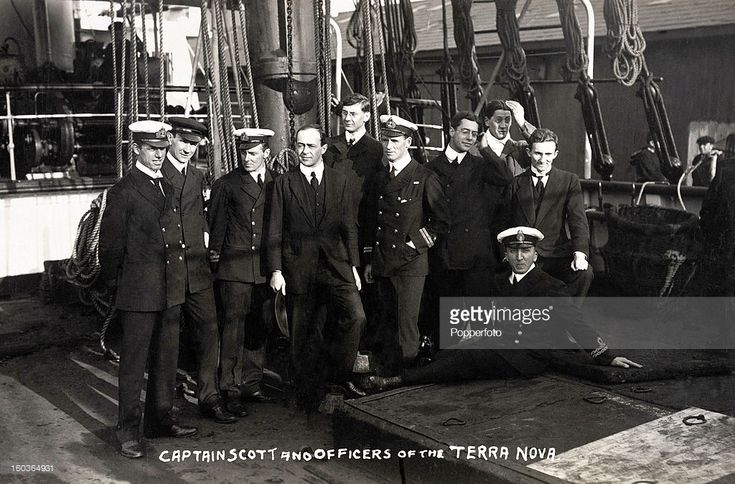 Captain Robert Falcon Scott (fourth left) and officers of the 'Terra Nova' which sailed to the Antarctic in 1910-1911.