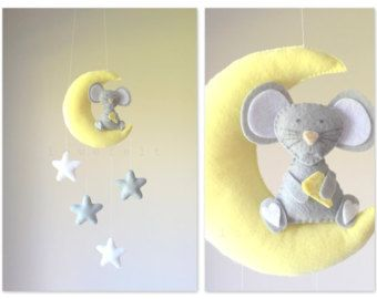 Baby mobile  Mobile moon  Elephant mobile  by GiseleBlakerDesigns