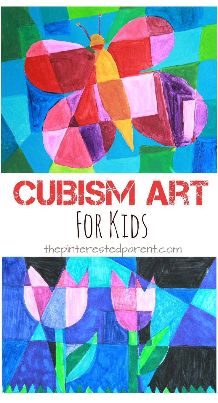 Picasso artist inspired Cubism art for kids. Spring arts