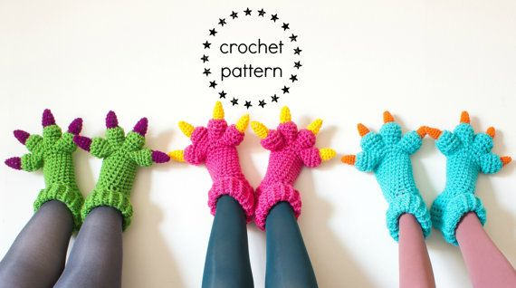 CROCHET YOUR OWN slippers with this fun crochet pattern for kids slippers and adult slippers (both womens slippers and mens slippers) in the style
