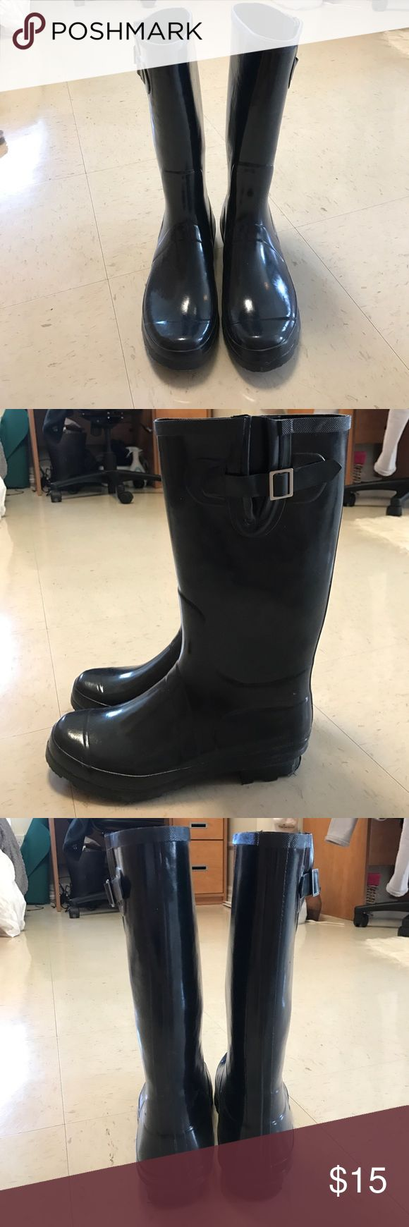 Rain boots Navy Blue Wellie rain roots used once. Good for rainy days, festivals, and more! Shoes Winter & Rain Boots