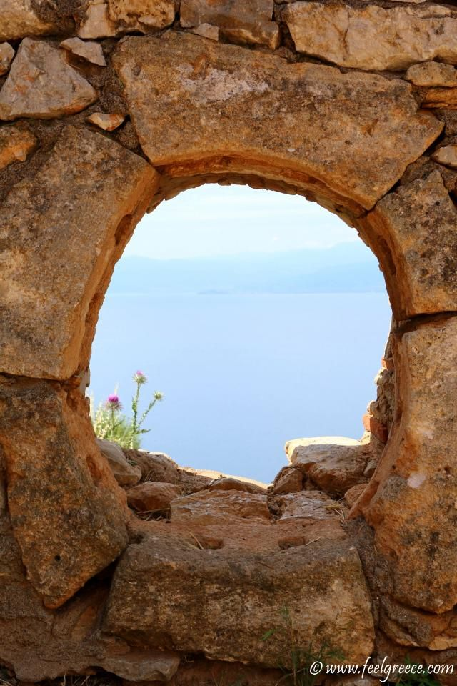 Ancient window in the fort; photo from Palamidi, Nafplio