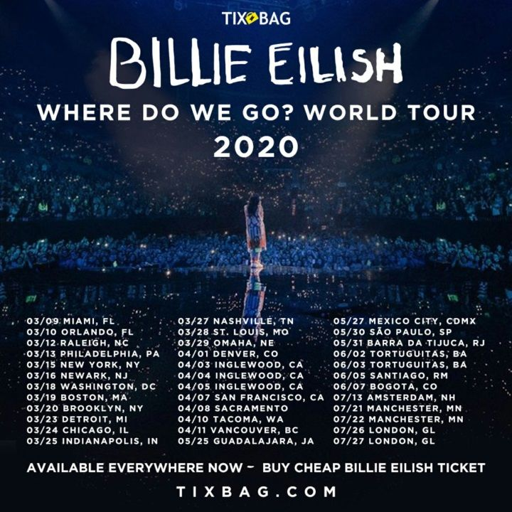 Upcoming Billie Eilish Announces 2020 World Tour Dates Tickets Billie Eilish Billie Tours