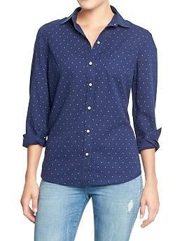 Womens Oxford Shirts Blue with green dots